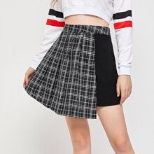 Contrast Plaid Asymmetrical Skirt