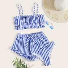 3 Stuecke Co-ord Bikini Badekleidung mit Streifen und Band orn