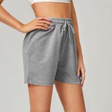 Drawstring Waist Solid Track Shorts