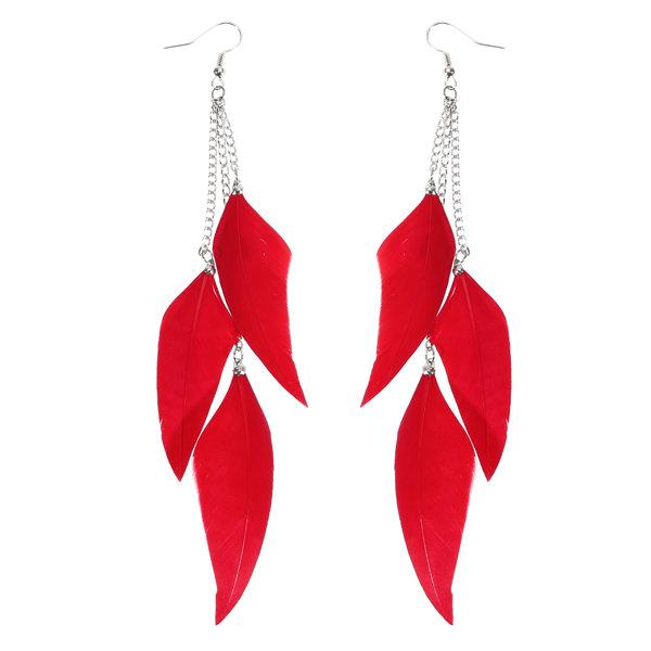 Women's Bohemian Feather Tassels Ear Drop Boho Colorful Earrings
