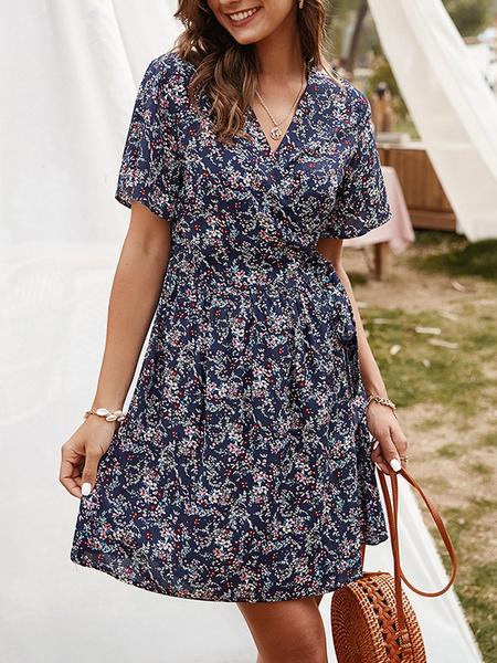 Milanoo Summer Dress V Neck Printed Short Sleeve Wrap Dress