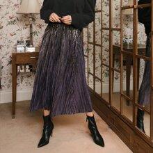 Falda brillante con fruncido de cintura elastica