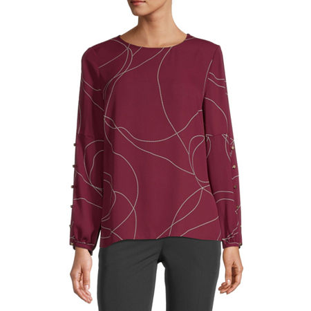 Liz Claiborne Womens Round Neck Long Sleeve Blouse, Xx-large , Red