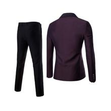 Men Lapel Collar Button Front Blazer & Tailored Pants