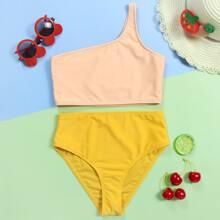 Bikini Badeanzug mit Farbblock und einer Schulter