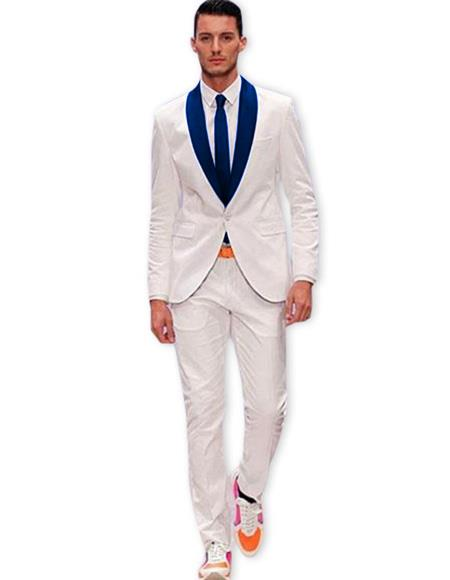 Mens White One Button Suit Navy Blue Shawl Lapel