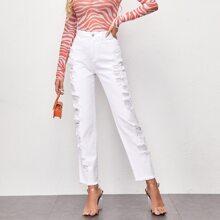 Jeans mit Riss und geradem Beinschnitt