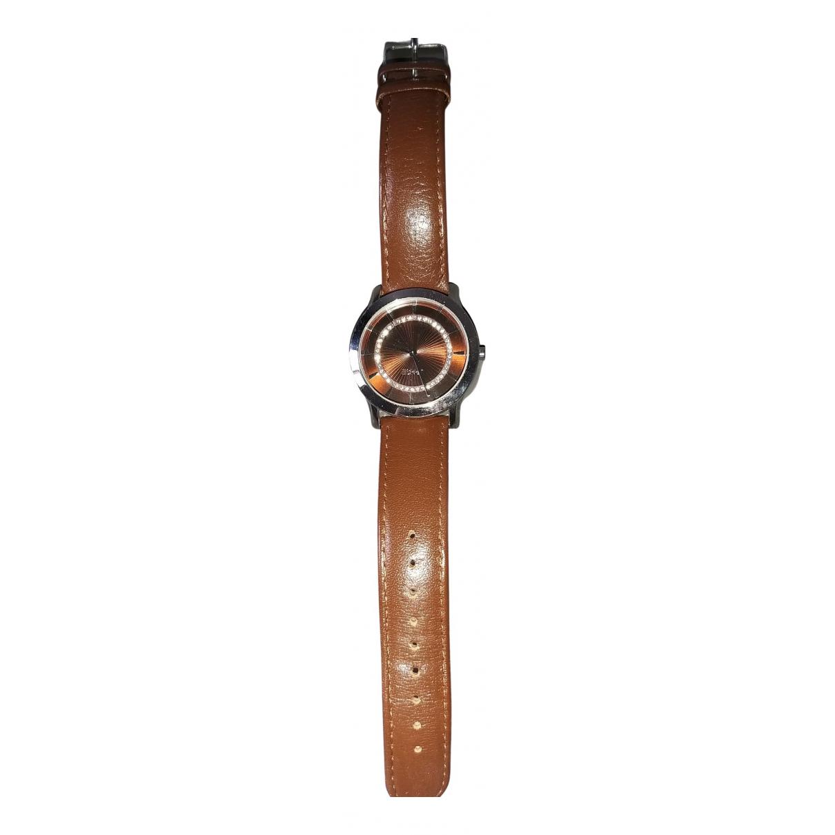 Esprit \N Uhr in  Braun Stahl