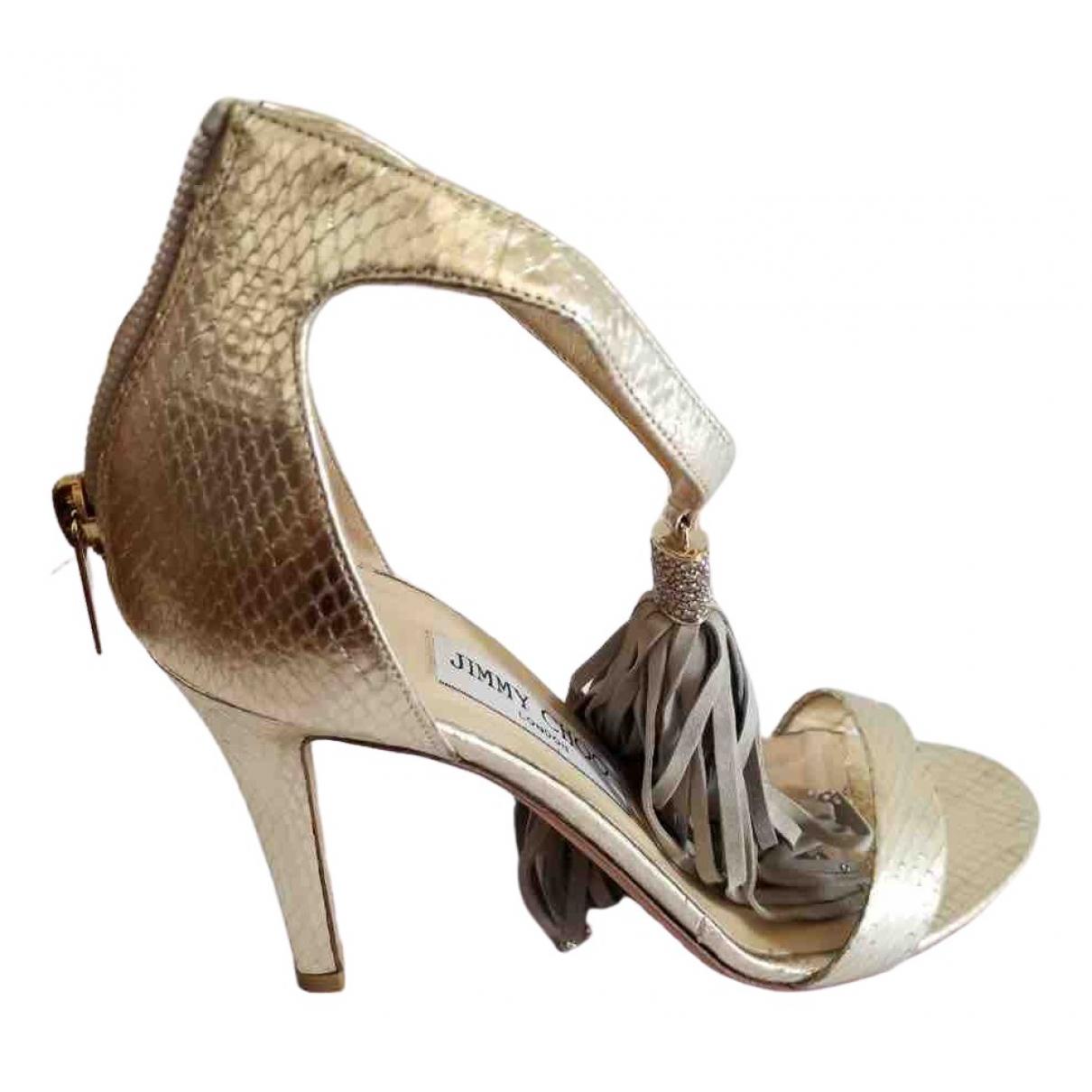Jimmy Choo - Sandales   pour femme en cuir exotique - dore