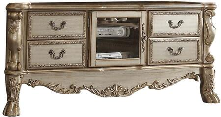 Dresden Collection 91333 79 TV Stand with 4 Drawers  Center Glass Door  Poly Resin Ornamental Details  Claw Legs  Antique Hand Brushed Accent  Aspen