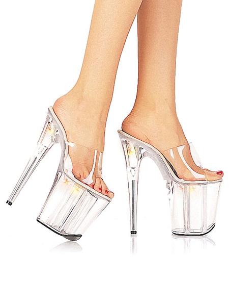 Milanoo Zapatos atractivos de las mujeres plataforma transparente punta abierta sandalias de tacon de aguja sandalias de tacon bajo