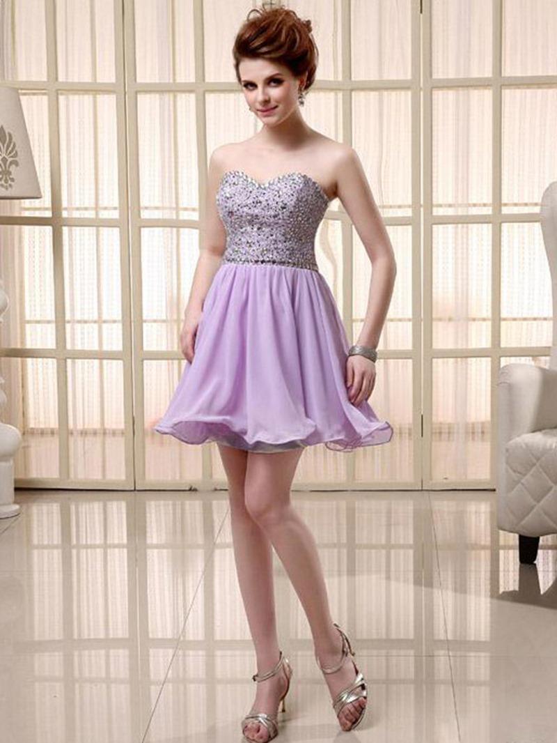 Vogue Sweetheart Ruffles Beads Homecoming/Cocktail Dress