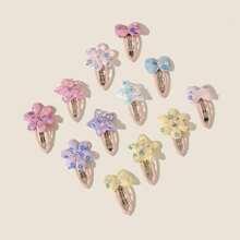 12 piezas horquilla de niñitas con diseño de flor