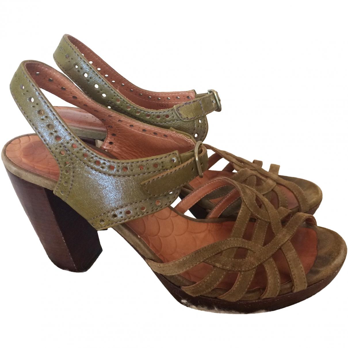 Chie Mihara \N Khaki Leather Sandals for Women 40 EU