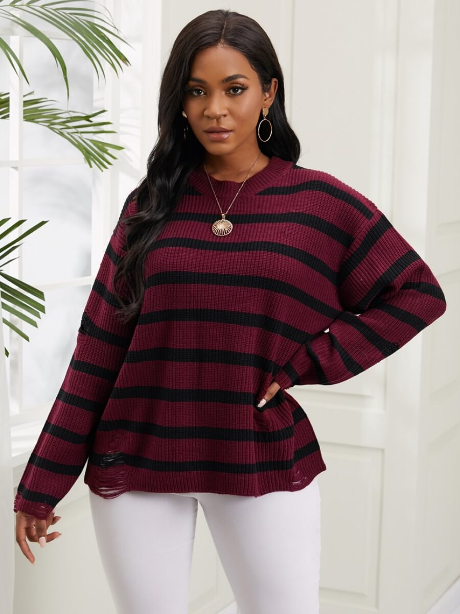 LW Lovely Trendy O Neck Striped Loose Red Sweater