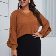 Jerseis de Tallas Grandes Cut-out Liso Casual