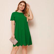 Plus Scallop Edge Solid Dress