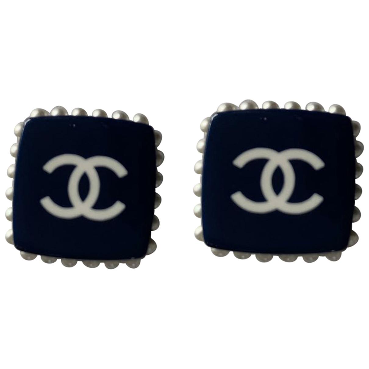 Chanel - Boucles doreilles CC pour femme en metal - marine