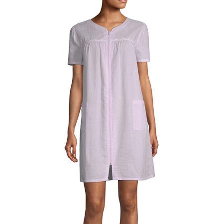 Adonna Womens Short Sleeve Knee Length Robe, X-large , Pink