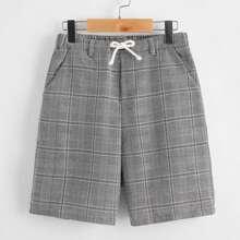 Shorts mit Taillenband und Karo Muster