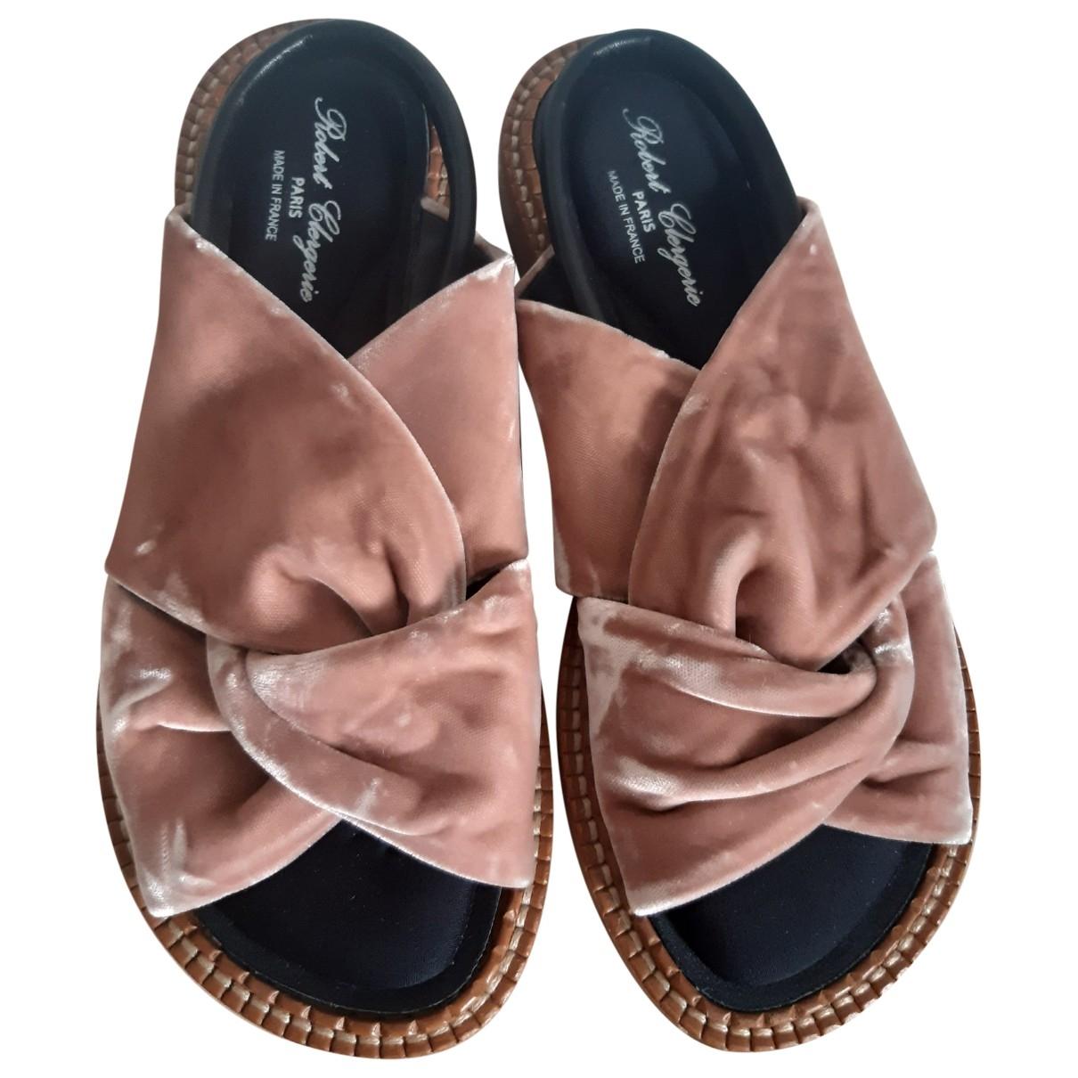 Robert Clergerie \N Pink Velvet Sandals for Women 38 EU