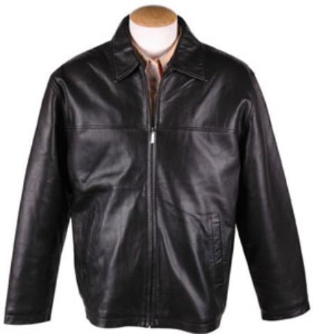 Mens Black Lamb Leather Zip JD Jacket with Removable Liner