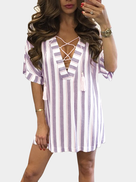 Yoins Stripe Pattern Lace-up Design Mini Dress