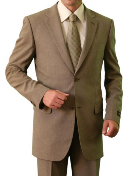 2 Button Tan Front Closure Notch Lapel Suit Mens Cheap