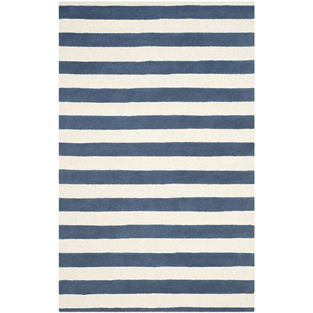 Safavieh Linette Stripe Hand Tufted Wool Rug, One Size , Blue