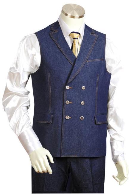 Mens Notch Lapel Flap Pocket Blue Zoot Suit