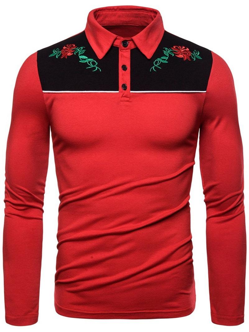 Ericdress Embroidery Fashion Color Block Men's Polo Shirt