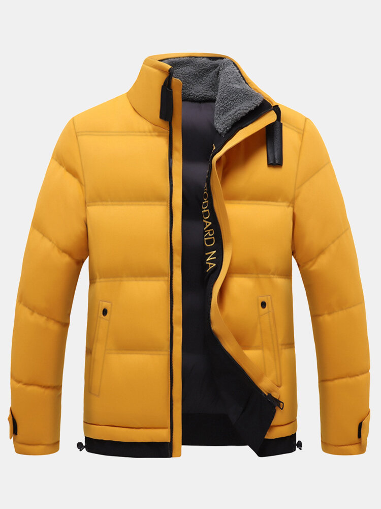 Mens Thicken Warm Stand Collar Zip Front Windproof Overcoats With Pocket