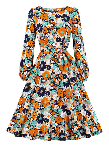 Milanoo Vintage Dress 1950s Long Sleeves Polyester Woman\s Knee Length Floral Print Daisy Bodycon Swing Dress