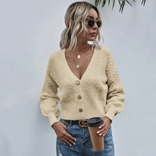 Solid Button Up Bishop Sleeve Cardigan