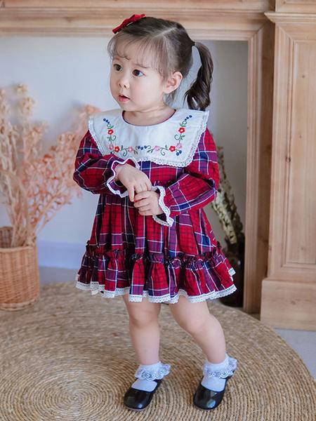 Milanoo Vestido de Lolita para niños Vestido de tutu de manga larga a cuadros
