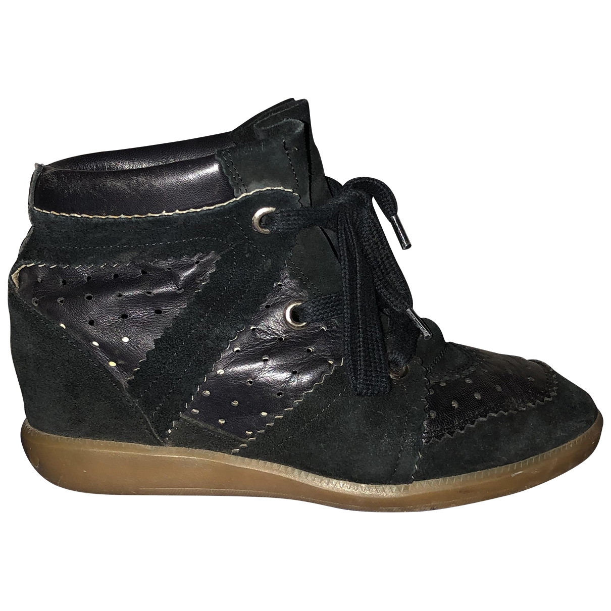 Isabel Marant Bobby Black Leather Trainers for Women 37 EU