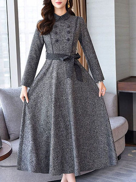 Milanoo Vintage Dress Womens Spring Autumn Buttons Long Sleeve Maxi Retro Dresses with Waistband