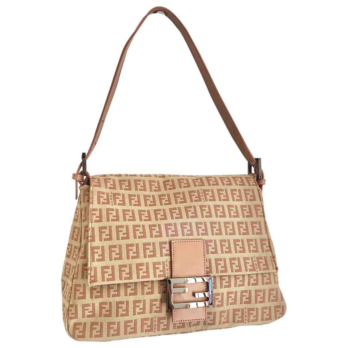 Fendi Mamma Baguette  Handtasche in  Rosa Leinen