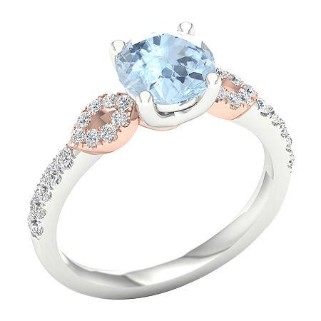 Modern Bride Gemstone Womens 1/4 CT. T.W. Genuine Blue Aquamarine 10K Rose Gold Round Engagement Ring, 6 1/2 , No Color Family