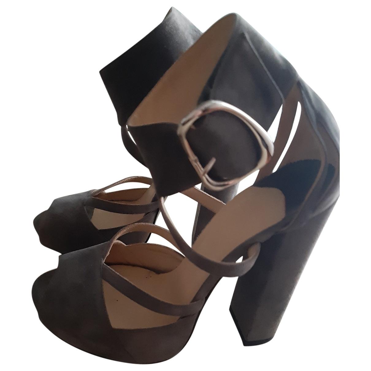 - Sandales   pour femme en suede - gris