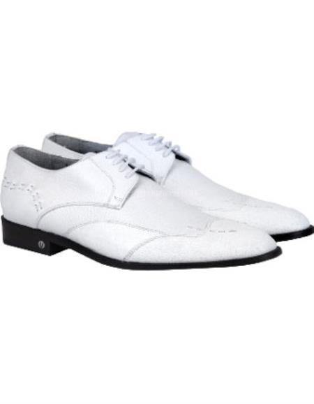 Men's White Full Leather Lining Vestigium Genuine Catshark Derby Shoes