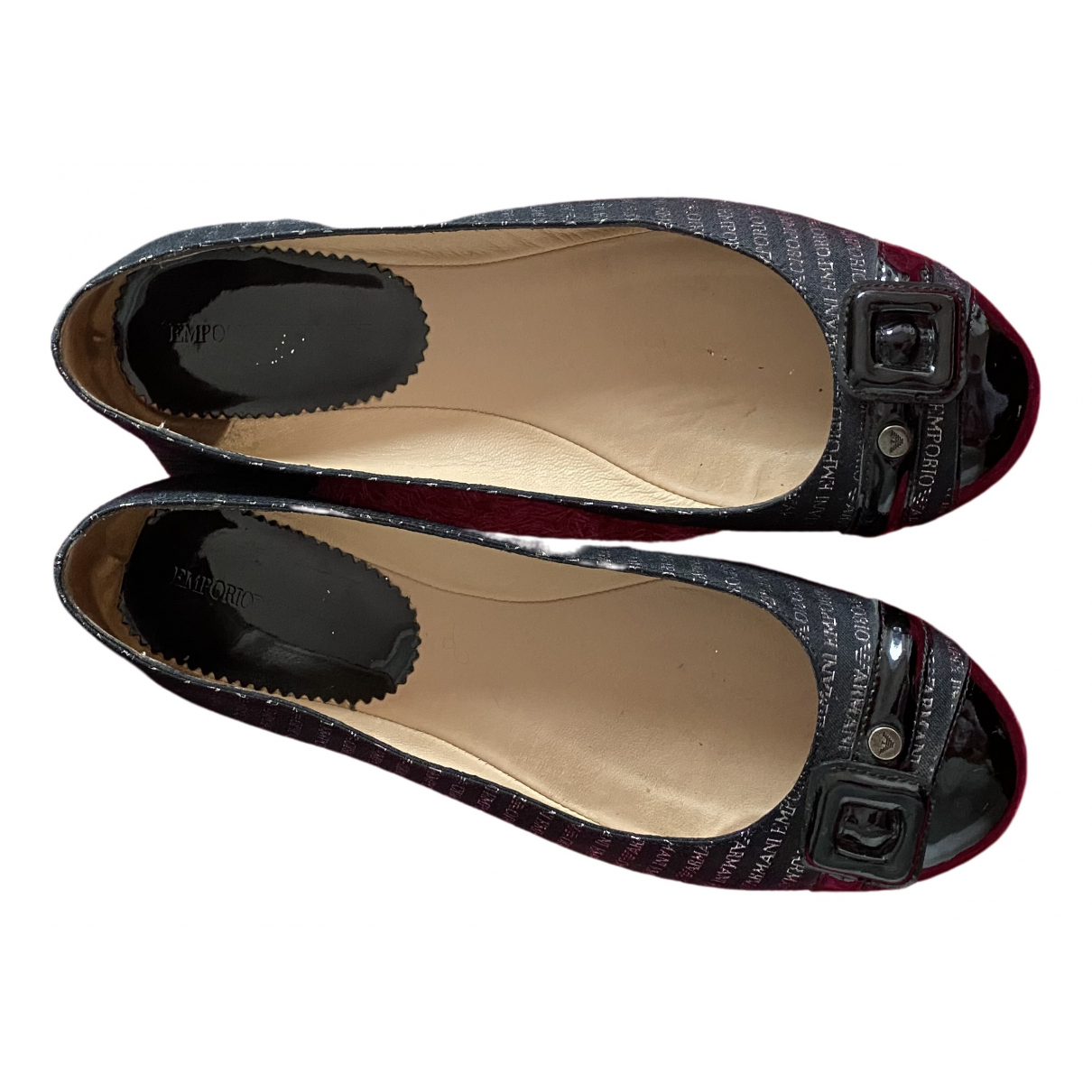Emporio Armani N Black Patent leather Ballet flats for Women 38 EU