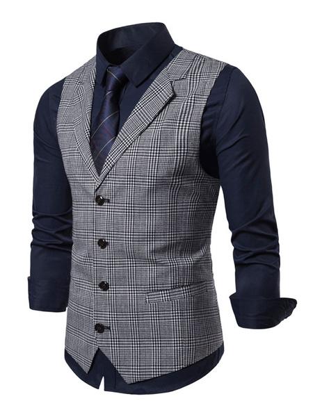 Milanoo Men Waistcoat Vest Plaid Notch Collar Buttons Dress Gilet Clubwear