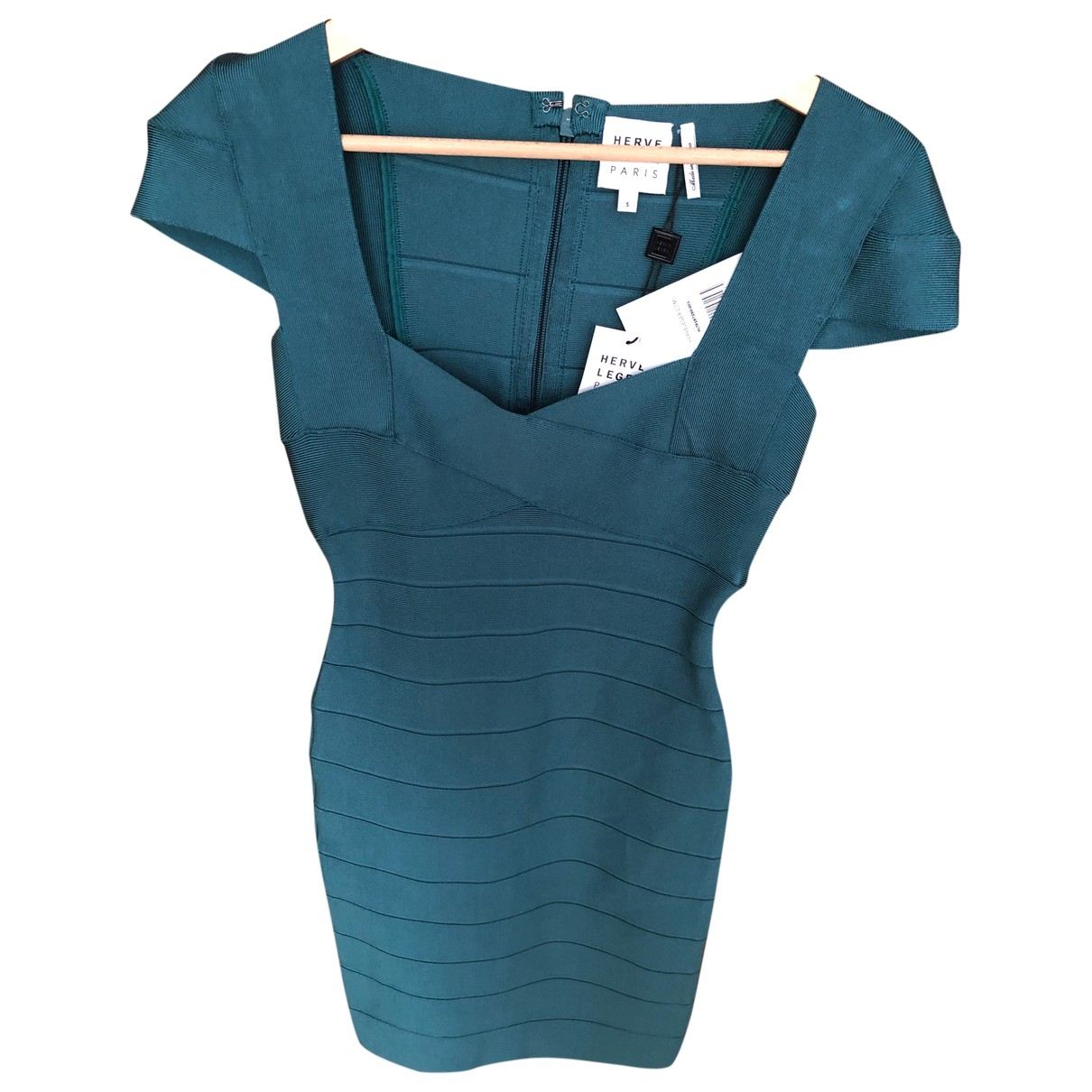 Herve Leger \N Kleid in  Tuerkis Baumwolle