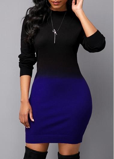 Women'S Blue Ombre Dip Dye Long Sleeve Round Neck Sweater Dress Mock Neck Sheath Mini Work Dress By Rosewe - L