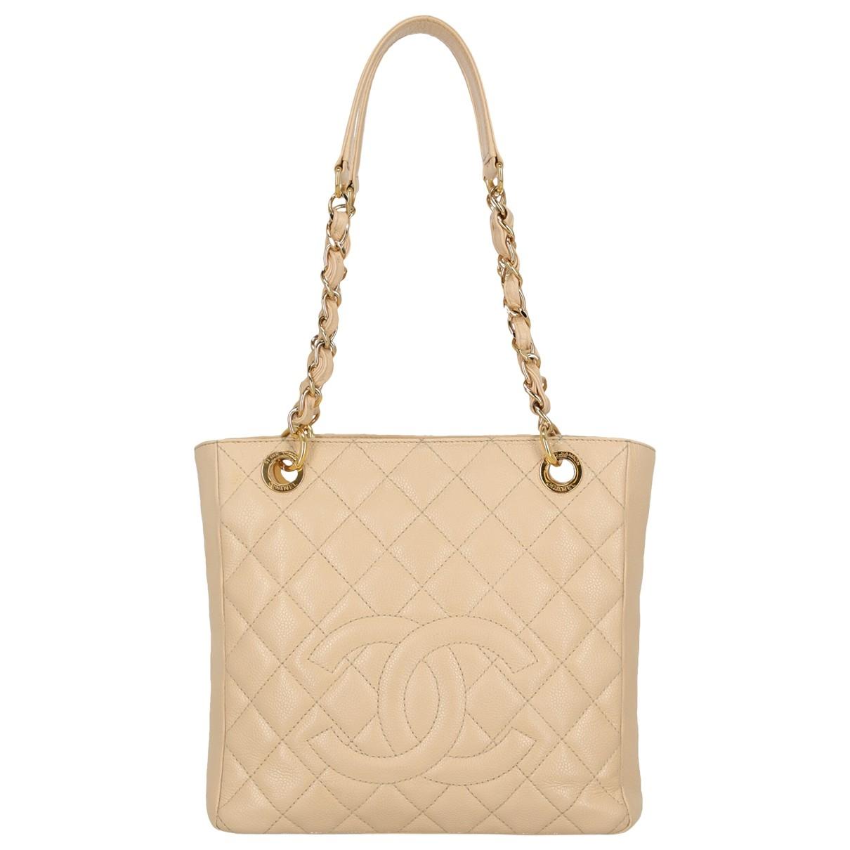 Chanel Petite Shopping Tote Beige Leather handbag for Women \N
