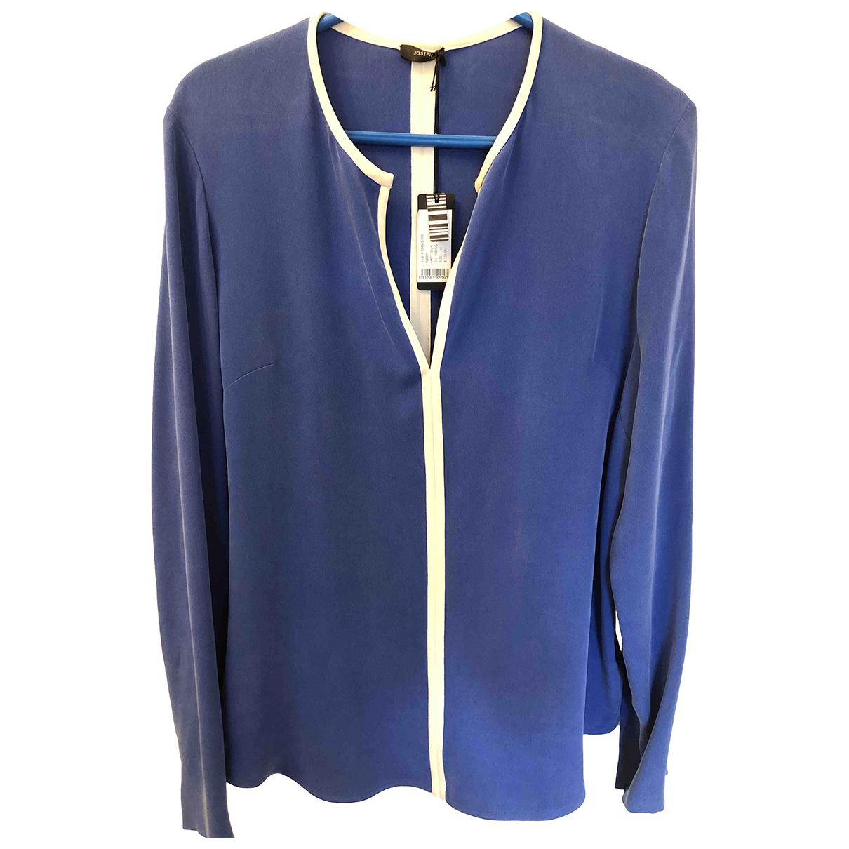 Joseph - Top   pour femme en soie - bleu