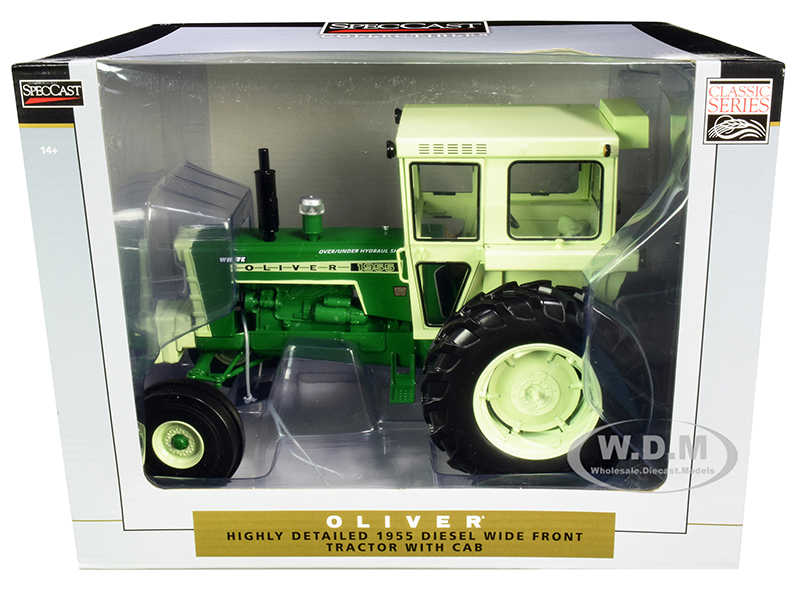 Oliver 1955 Wide Front Diesel Tractor with Cab Green