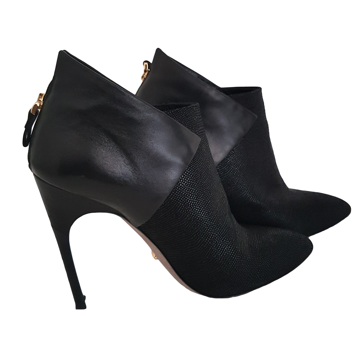 Sergio Rossi \N Black Leather Ankle boots for Women 38.5 EU
