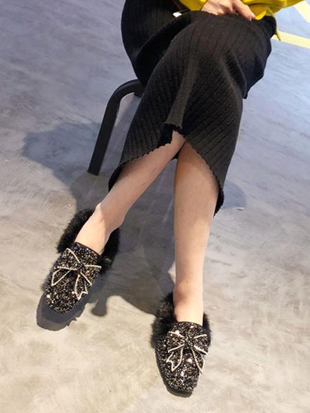 Milanoo Rosa Mujer Mocasines Con Lentejuelas Punta Redonda Lazos Detalle De Piel Slip On Zapatos